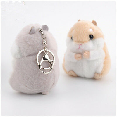 Cute Fluffy Furry Hamster Keychain - Fur Pompom Hamster Faux Key Chains For Cars