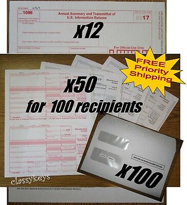 2017 Irs Tax Forms Kit 1099 Misc Laser For 100 Recipients 100