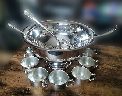 Beautiful Oneida Silverplate Punch Bowl Set - bowl, 8 cups, ladle, salad servers