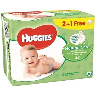 HUGGIES Lingettes Natural Care - 2 recharges + 1 gratuit