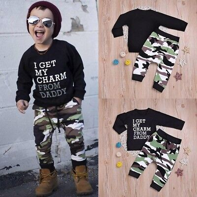 2pcs Toddler Baby Boys Kids Shirt Tops+Pants Camouflage Clothes Outfits Set