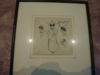 PHILIP (Phil) WILLIAM MAY  1864-1903 SMALL PEN DRAWING COCKNEY TYPES SIGNED
