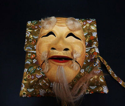 Japanese Exceptional Noh Theater national Old man Okina mask WITH BAG