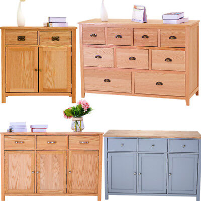 Panana Solid Oak Sideboard Wood Storage Cabinet Chest Of Drawers Large Cupboard