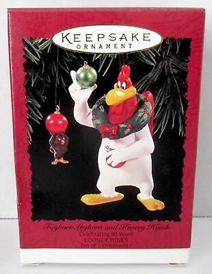 NEW Hallmark Ornament FOGHORN LEGHORN & HENERY HAWK Set of 2 Looney Tunes