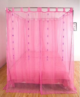 Queen Pink Yarn Mosquito Net Bedding Four-Post Bed Canopy Curtain Netting