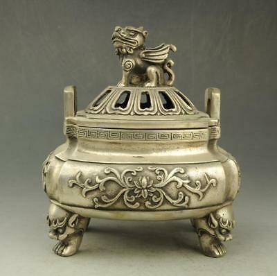 old Tibet silver hand-carved four-footed incense burner Pi Xiu lid