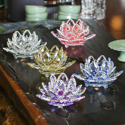 Large Crystal Lotus Flower Ornament Paperweight Glass Crafts Home Decor with Box