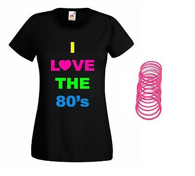 I Love The 80S Tshirt & Neon Pink Gummy Bracelets Set 1980S Party Accessories