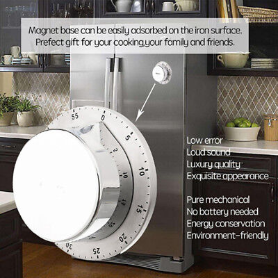 Mechanical Kitchen Timer Magnetic Cooking Minutes Alarm Stainless Steel HM