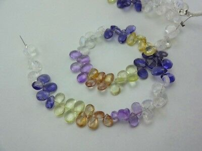 8-inch All Natural Mix Stones faceted pear size 5-7mm 35cts
