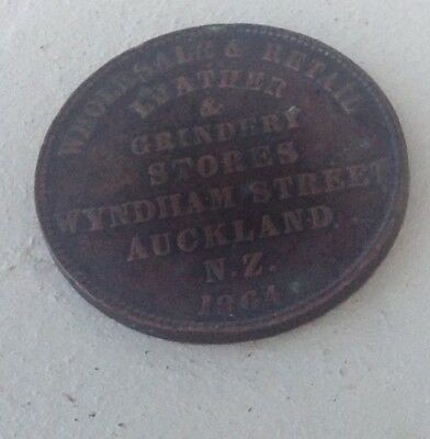 New Zealand 1864 Token Wholesale & Retail Leather & Grindest Stores