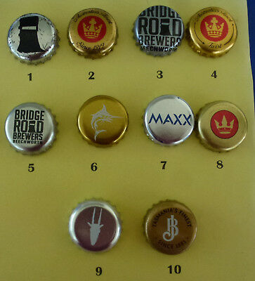 10 Crown Seal Bottle Caps from Small & Large Breweries in Australia (Lot 17)