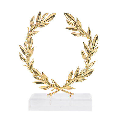 Olive Wreath - Handmade Bronze Ornament with Golden Patina - 15cm (5.9'')