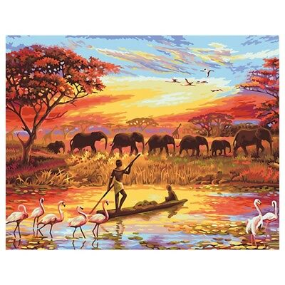 Frameless Fishermen Elephants DIY Digital Oil Painting By Numbers Home Wall Art