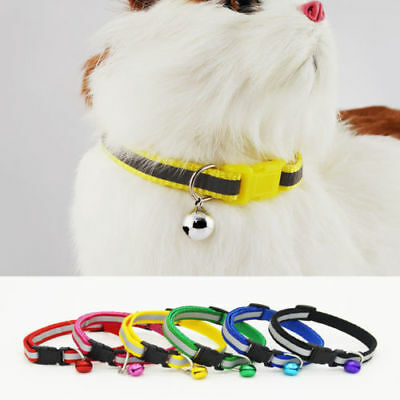 Adjustable Reflective  Nylon Cat Safety Collar With Bell Cat Kitten SE