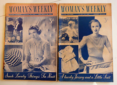 2 x Vintage 1951 WOMAN'S WEEKLY Magazine. 25Aug, 24Nov Crafts/ Knits