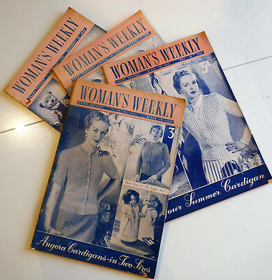 4 x Vintage 1952 WOMAN'S WEEKLY Magazine. Crafts / Knits