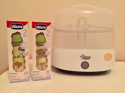 Tommee Tippee Electric Steriliser with 2 brand new Chicco Baby Feeding Bottles