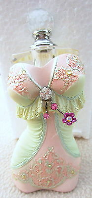 """Vintage Glass Perfume Bottle In Green & Pink """"jewelled Corset"""" Lovely Gift Bn"""