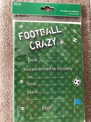 20 Football Crazy Party Invites M&S BRAND NEW in pack