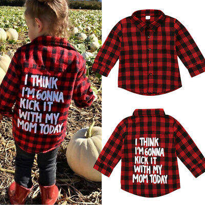 Toddler Kids Baby Boys Girl Printed Plaid Tops Shirt Long Sleeve T-shirt Clothes