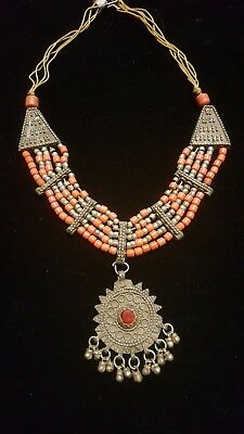 Vintage Antique Old Yemenite Bedouin Tribal Ethnic OranCoral Necklace N16