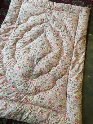 "Original Vintage Feather Paisley Quilt 40"" By 60"" Single Lovely"