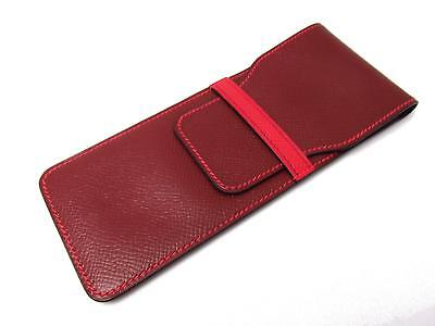 HERMES glasses case pouch Couchevel leather Rouge H Red