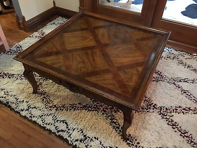 Vintage Antique French Provincial Furniture Coffee Table Inlaid Wood Hekman