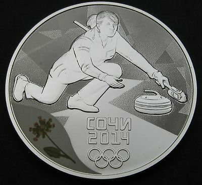 RUSSIA (Federation) 3 Roubles 2014 Proof - Silver - Sochi Curling - 378