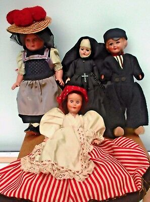 """Lot of 4 Vintage Antique Doll Dolls European Hand Painted Face 8-10"""" Tall"""