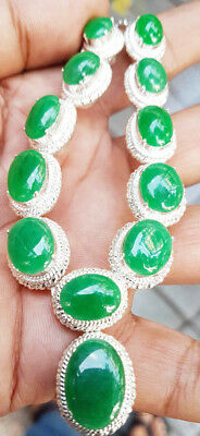 Untreated Natural Jade Jadeite Necklace Pendant Type A Green Oval Loose Gemstone