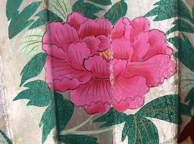 Antique Art Deco Oriental Chinese Hand Painted floral Paper wall Fan Near Mint