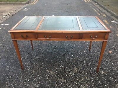Bevan Funnell Reprodux Furniture Antique Yew Leather Topped Writing Table