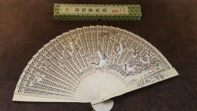 Vintage Pierced Wood Oriental Hand Fan In Original Gift Box 2 Sided Painted