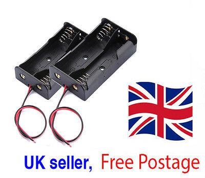 2X Plastic Battery Storage Cases Box Holders For 2 X AA 2xAA 3V+ wire leads