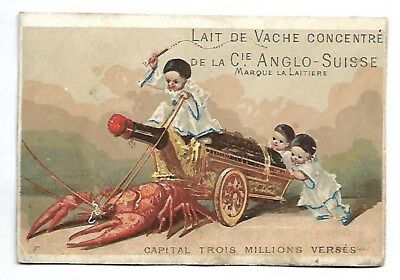 Homard Bouteille de vin  Pierrot - Chromo Cie Anglo Suisse - Trade Card