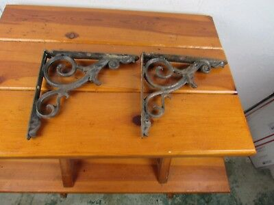 "Shelf Brackets Set of 2 Cast Iron Antique Ornate Measure 8 1/2"" x 7 3/4"" x 1"""