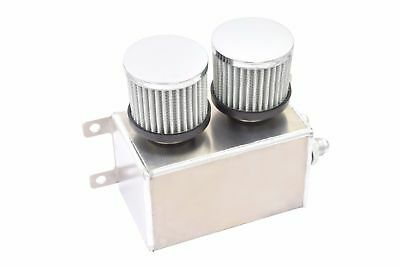Alloy 1.2L -8AN AN8 Dual Breather Filter Twin Baffle Engine Oil Catch Can Silver
