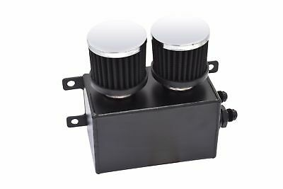 Universal 1.2L Twin Filter Dual Baffle Engine Oil Catch Can AN8 Black Chevy GM