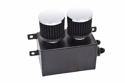 Universal 1.2L Baffled Engine Motor Oil Catch Can AN8 2x Filter Black LS3 LS6