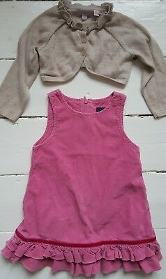 Baby boden pink fine corduroy pinafore dress & monsoon gold cardigan, 12-18 mths