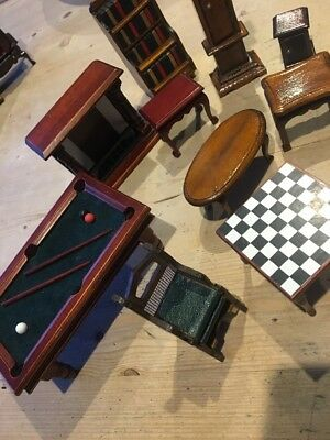 Dolls House Furniture Clock Pool Table Victorian Fire Place Tables