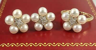 Regal Genuine Akoya Pearl & Diamond Solid 14kt Gold Earring and Ring Set, New