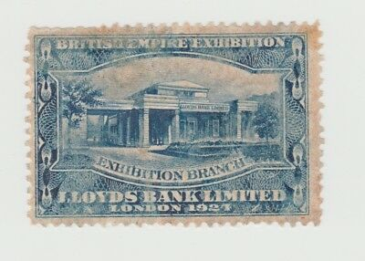 LLoyds Bank Limited British Empire Exhibition Label 1921 in Blue