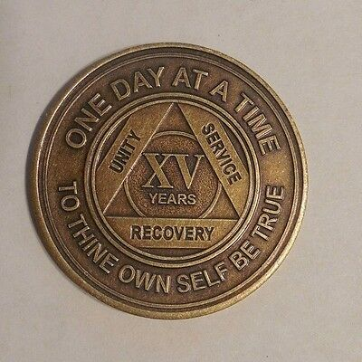 NEW aa bronze alcoholics anonymous 15 year sobriety chip coin token medallion