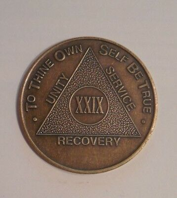 aa alcoholics anonymous bronze 29 year recovery sobriety coin chip token