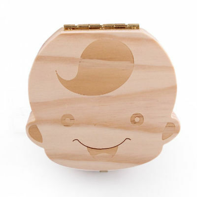 New Kids Boy Tooth Box organizer for baby Save Milk teeth Wood Storage Box
