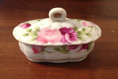 L@@k Antique Handpainted Nippon Trinket/ Ring Box With Lid Cabbage Rose
